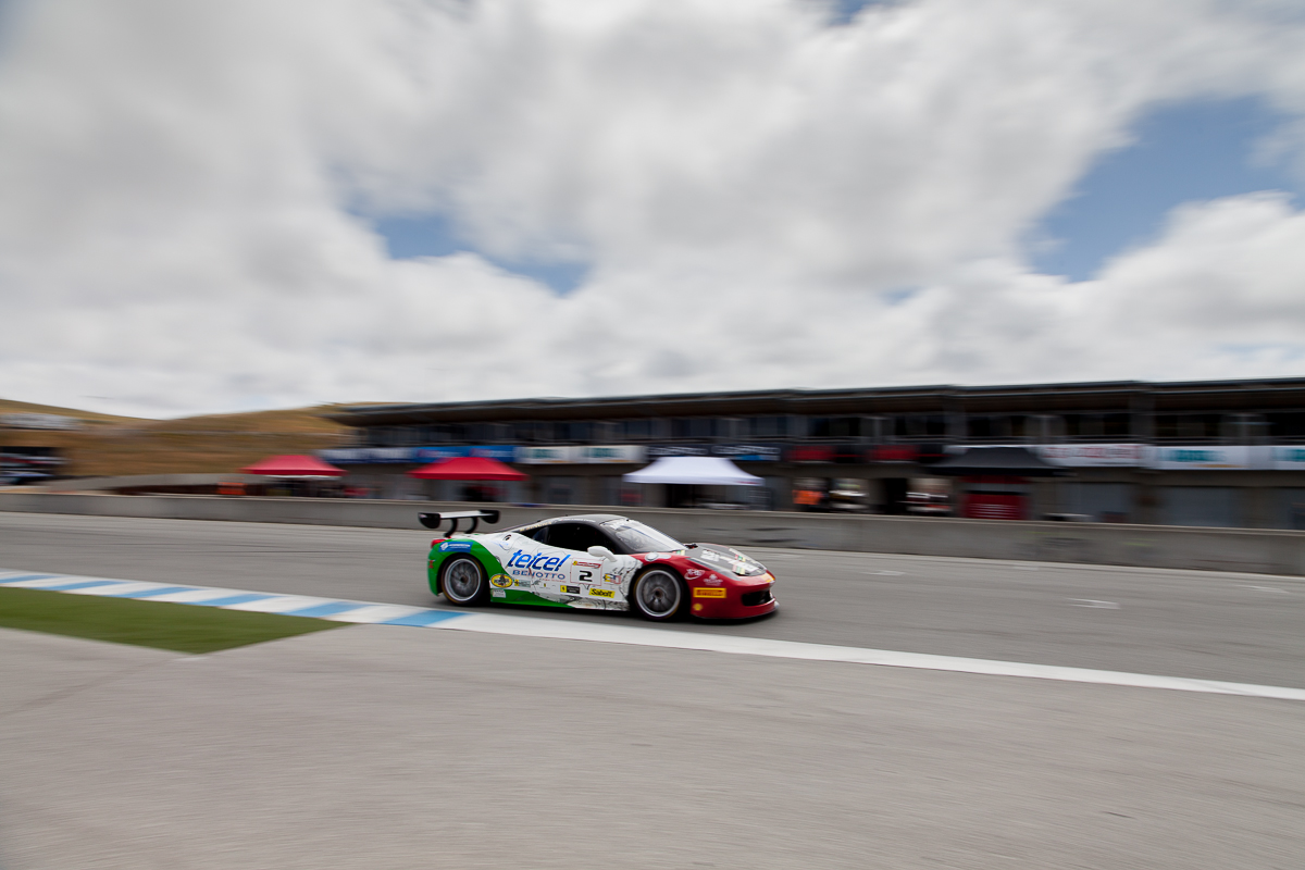 Ricardo Perez races down the front straight in the #2 Ferrari 458 EVO